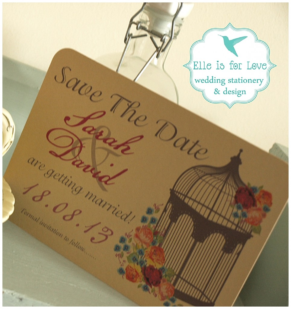 Birdcage Save The Date Side Wedding Stationery