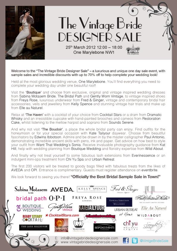 The Vintage Bride Designer Sale ~ One Marylebone, London Wedding Venue