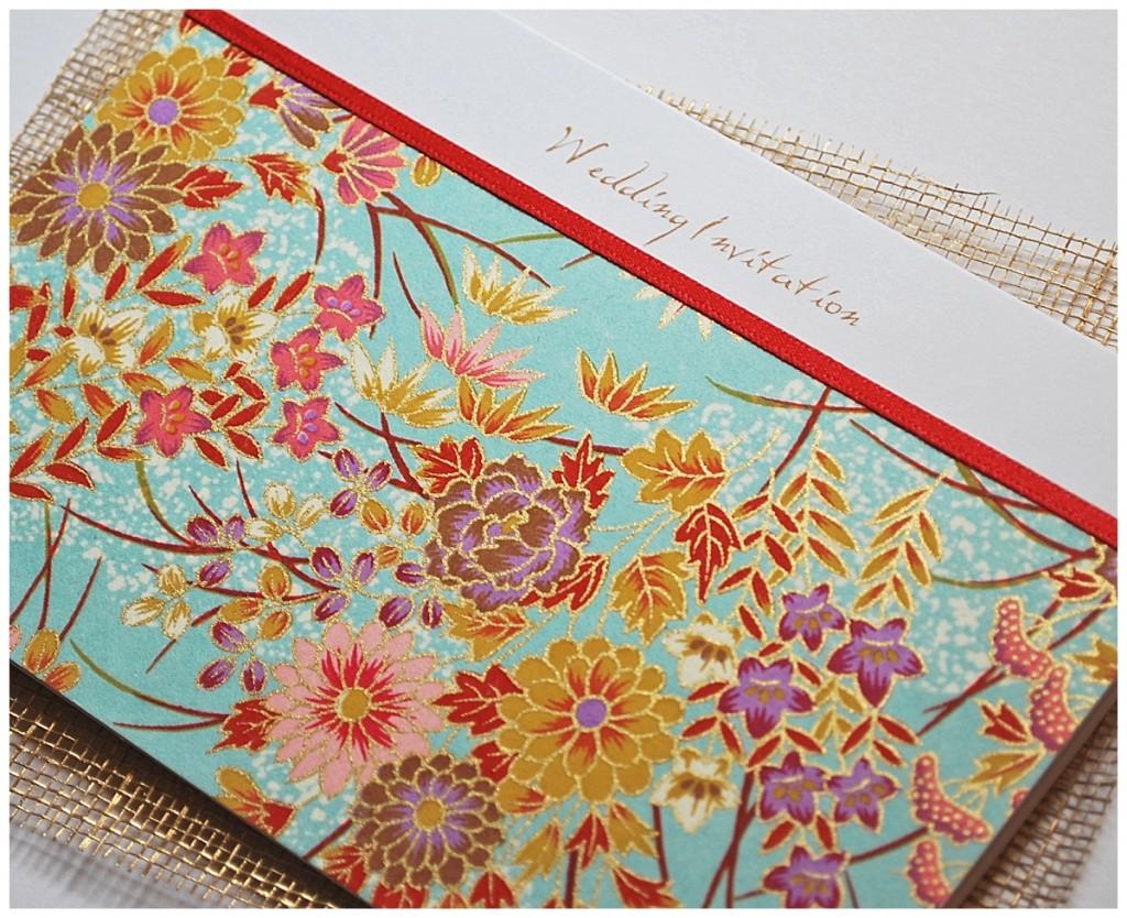 chiyogami turquoise ~ wedding stationery little jem