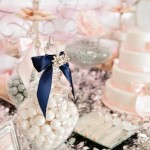 Navy, Silver, Pink & Grey wedding dessert table inspiration