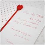 shiny red love hearts wedding stationery ~ little jem