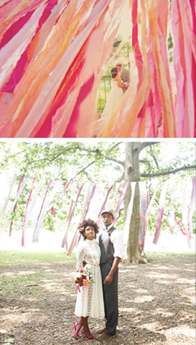 DIY wedding: fabric strips   wedding ideas