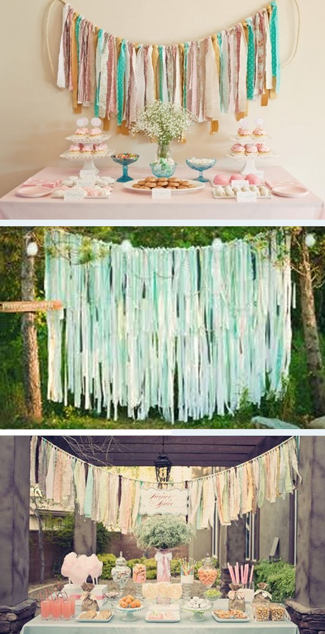 DIYwedding  fabric strips ~ backdrop1