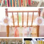 DIY wedding fabric strips ~ chairs