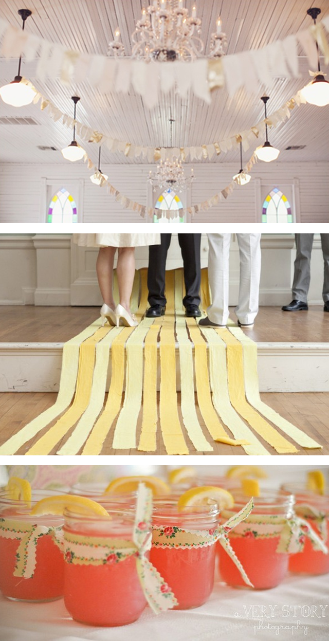 DIY wedding fabric strips ~ ideas