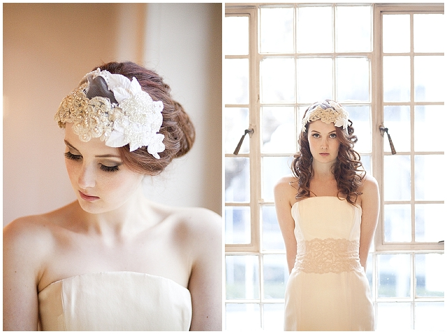 Millesime Vintage Milliners Lace and Velvet Bridal Cap-3