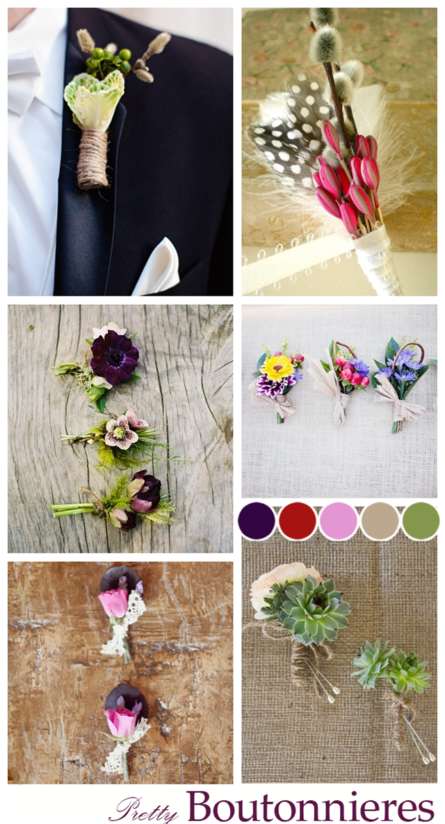 Alternative Boutonnieres ~ Button holes for groomsmen