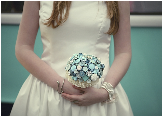 Beaubuttons button bouquets ~ Tiffany Blue Bouquet and Corssage