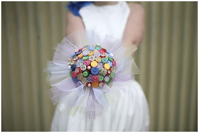 Beaubuttons button bouquets ~ Rainbow button bouquet