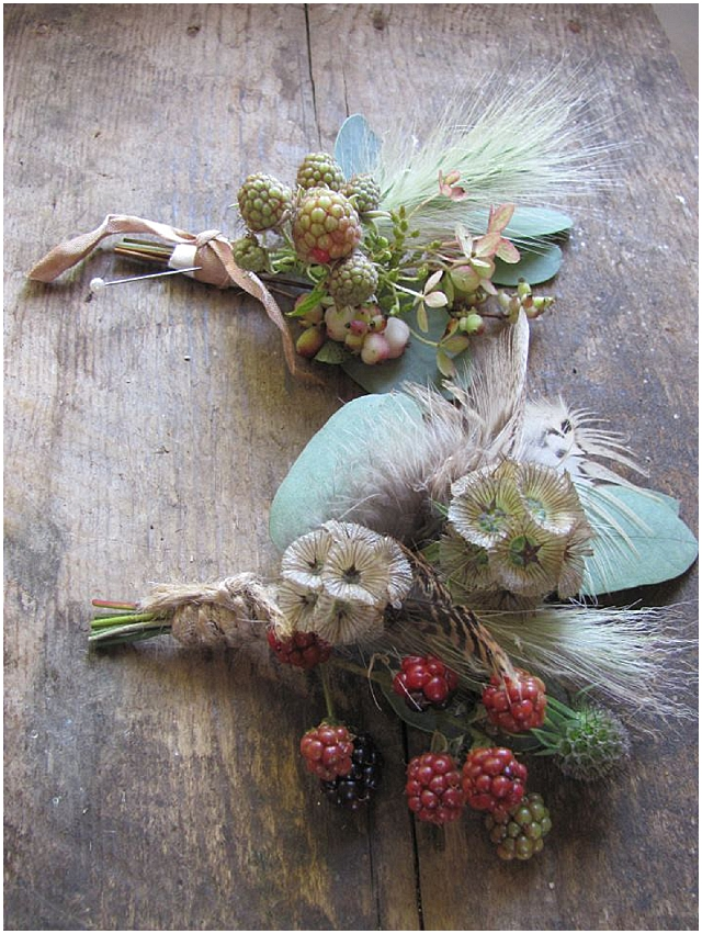 Beautiful autumn buttonholes wedding flowers - the blue carrott