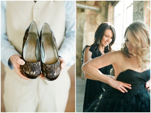 small and intimate: loft wedding | pretty black accents