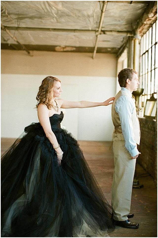 small and intimate: loft wedding | pretty black accents