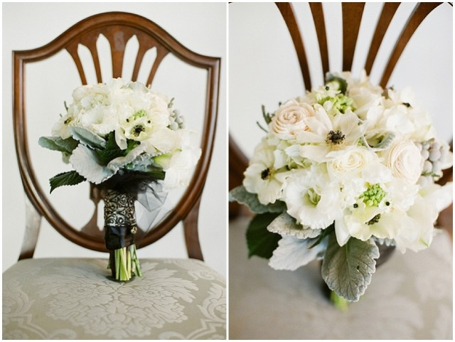 A small and intimate loft wedding with pretty black accents