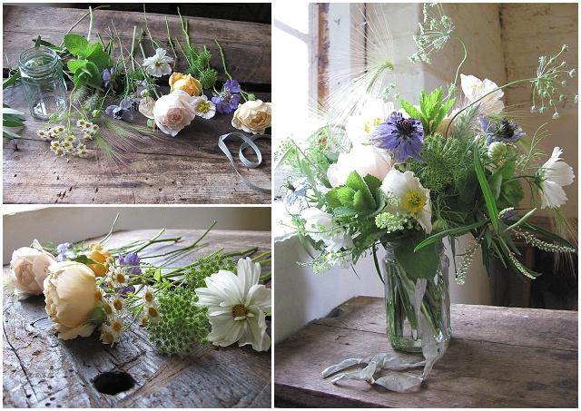 Beautiful jam jar wedding flowers - the blue carrott