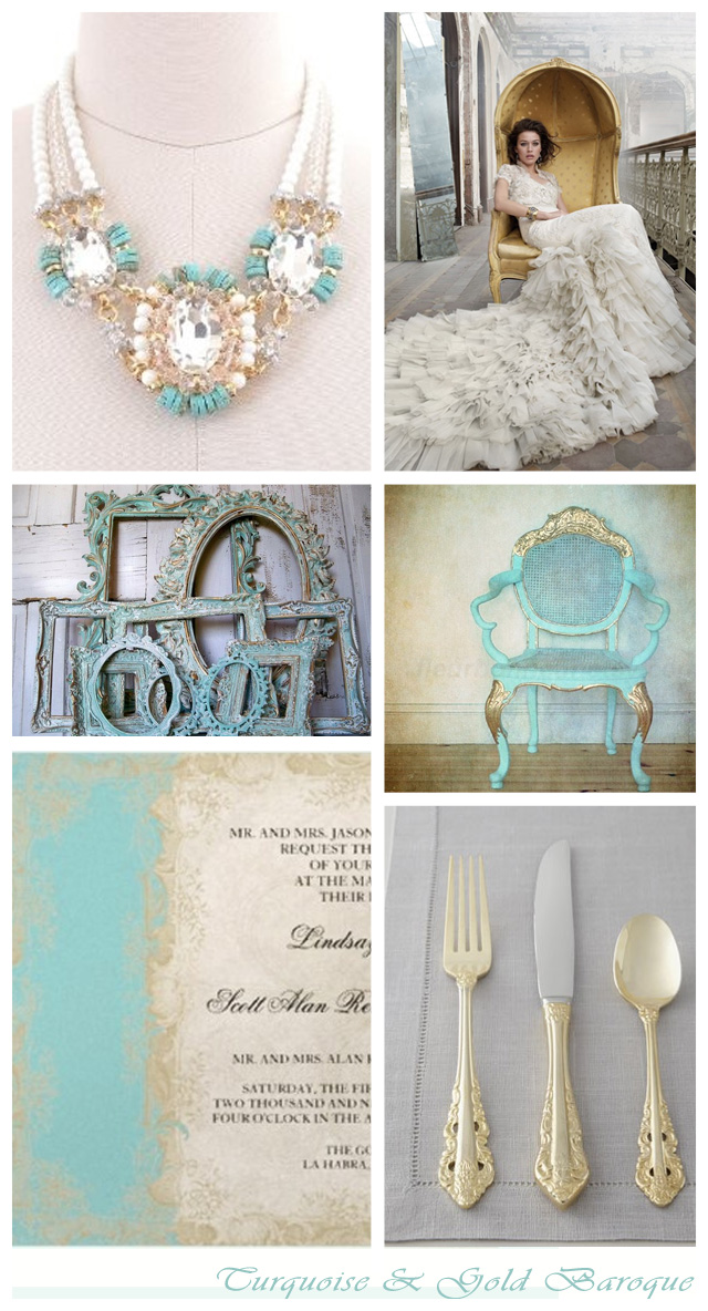 Baroque turquoise and gold ~ wedding inspiration