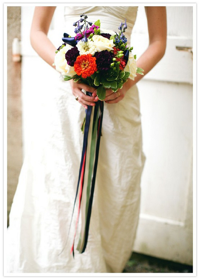 Ribbons on flower bouquets