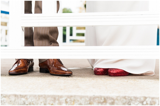 Intimate Elopement: Sparkly Red Pumps | Real Wedding