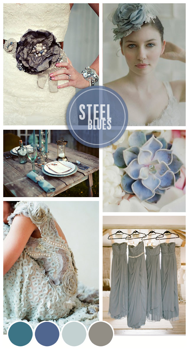 Steel Blues Wedding Inspiration Mood Board Want That