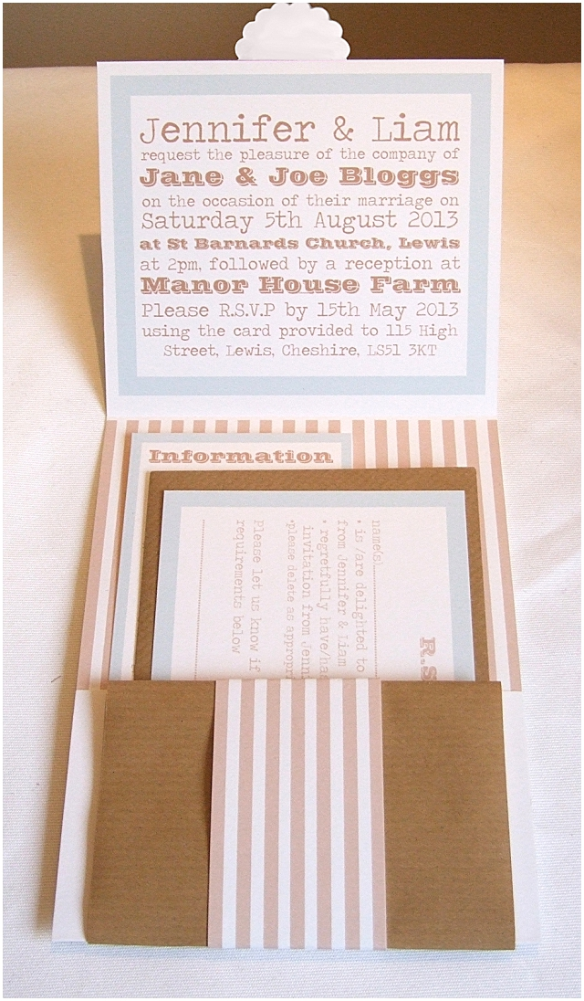 Choosing A Style For Your Wedding Invitations - aqua & mocha day inside