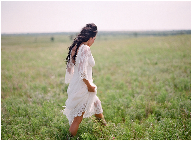 Native American Prairie Bridal Shoot Inspiration - Bride on the prairie