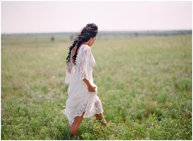 Native American Prairie Bridal Shoot Inspiration - Bride on the prairie