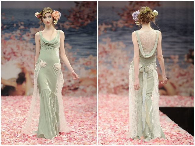 Claire Pettibone Seafoam Green Wedding Gown - Earthly Paradise