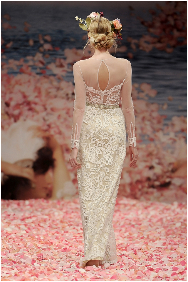 Claire Pettibone Illusion neck and sleeve wedding gown