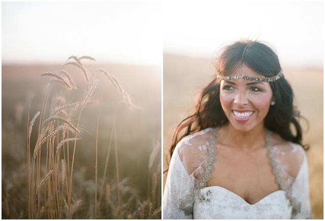 Native American Prairie Bridal Shoot Inspiration - Bride in the wheat fields