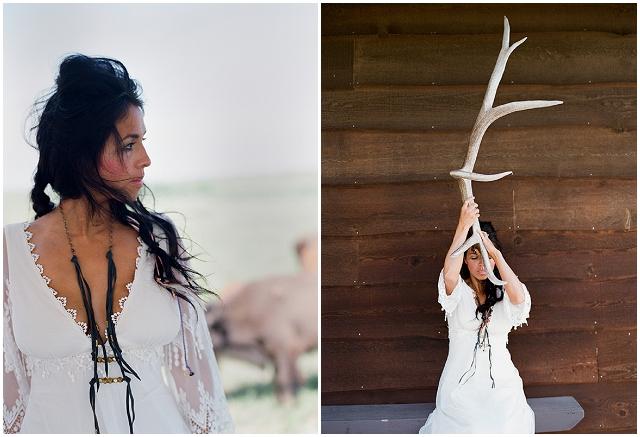 Native American Prairie Bridal Shoot Inspiration - Bride with antler