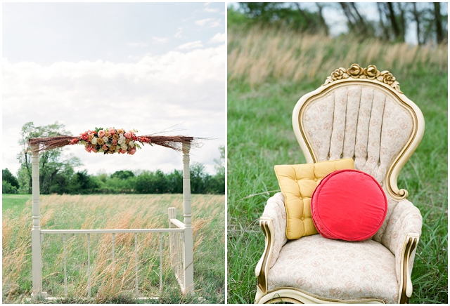 An Outdoors, Country Styled Bridal Shoot with Pretty Peach, Pink & Yellow