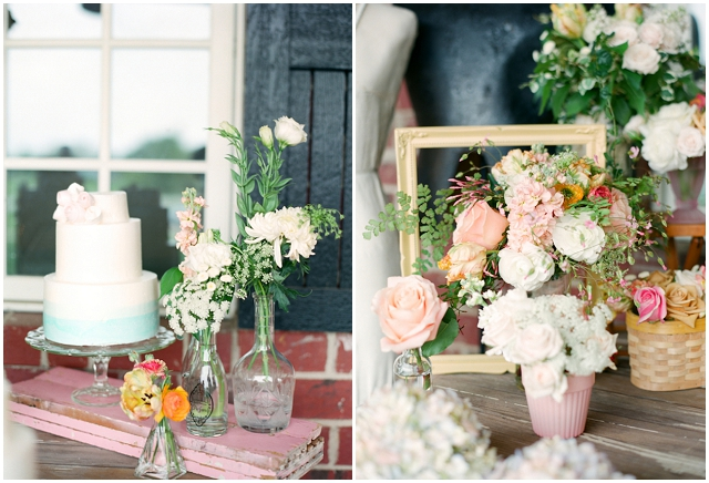 There were great food details like the mini open fruit pies, pecan desserts, and a peach signature drink with actual sliced peaches in it.  An Outdoors, Country Styled Bridal Shoot with Pretty Peach, Pink & Yellow