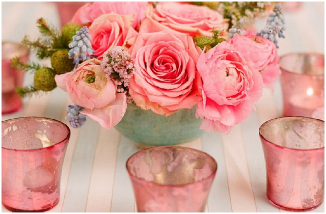 pink glass votives