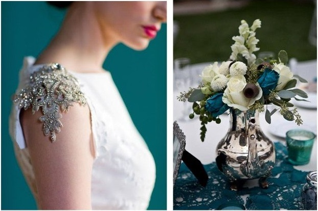 Deep teal and vintage wedding inspiration