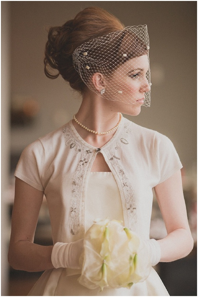 bridal gown and vintage cardigan