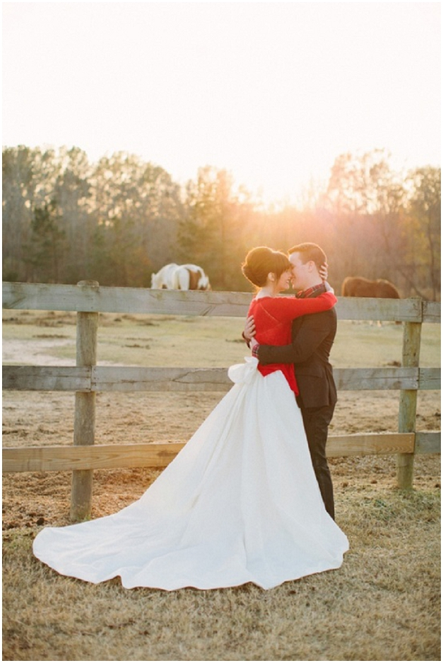 Bride in wedding dress and bright red cardigan