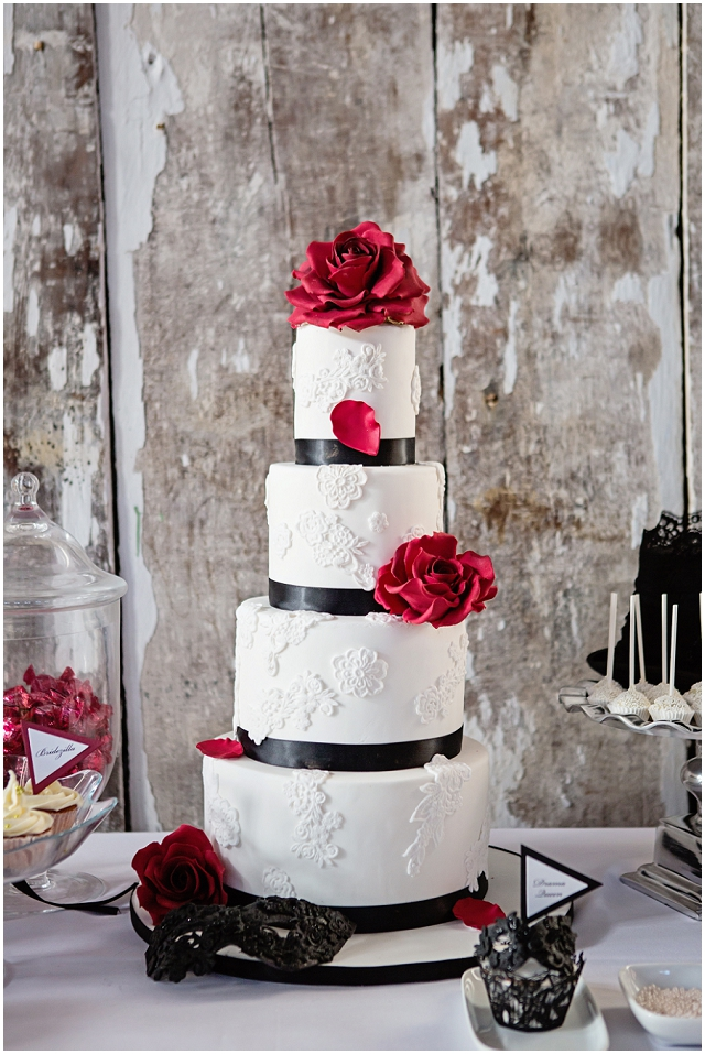Contemporary Princess - This cake combines the classic black, white and red colour