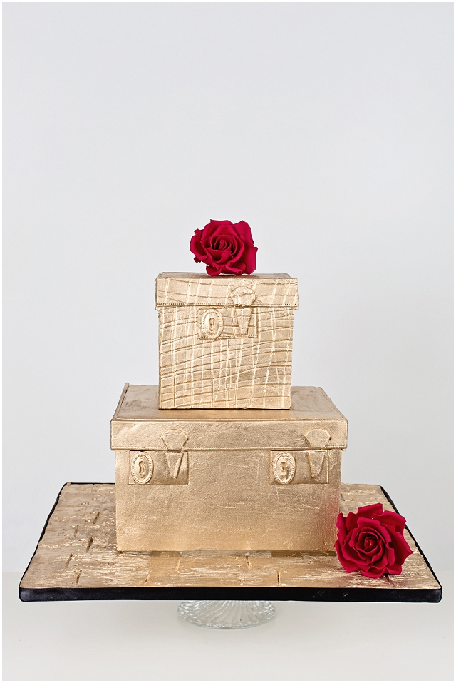 Travel Queen - Inspired by the Lulu Guiness vanity cases, this two tier molten yellow gold cake