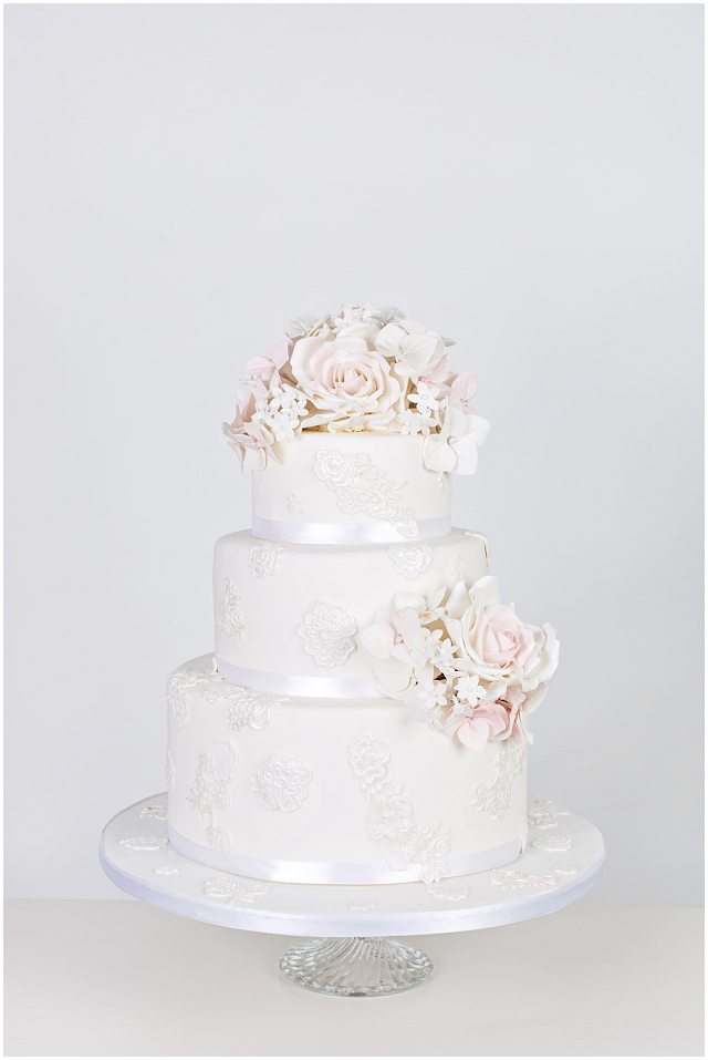 Vintage Princess - Decorated with edible sugar lace applique, pearls and delicately coloured sugar flowers