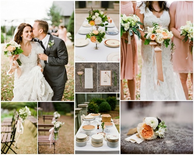 Soft peach and delicate lace real wedding
