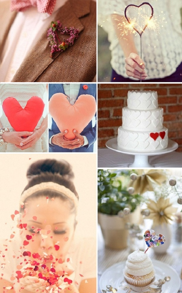red heart wedding ideas