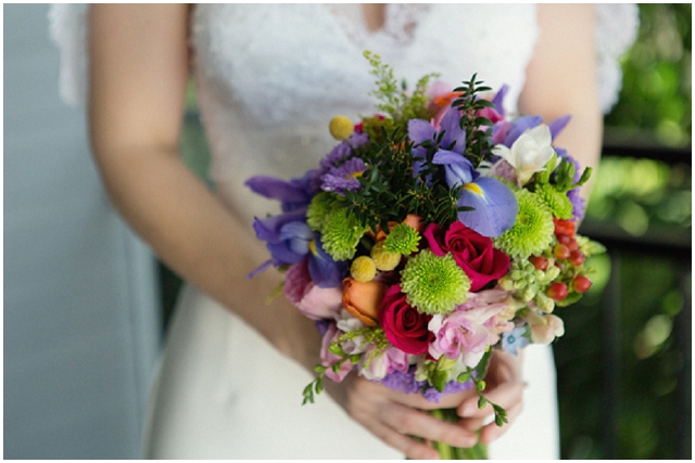 A Wedding With A View: Rainbow Bouquet | Real Wedding