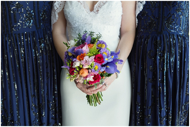 A Wedding With A View: Pretty Rainbow Bouquet | Real Wedding