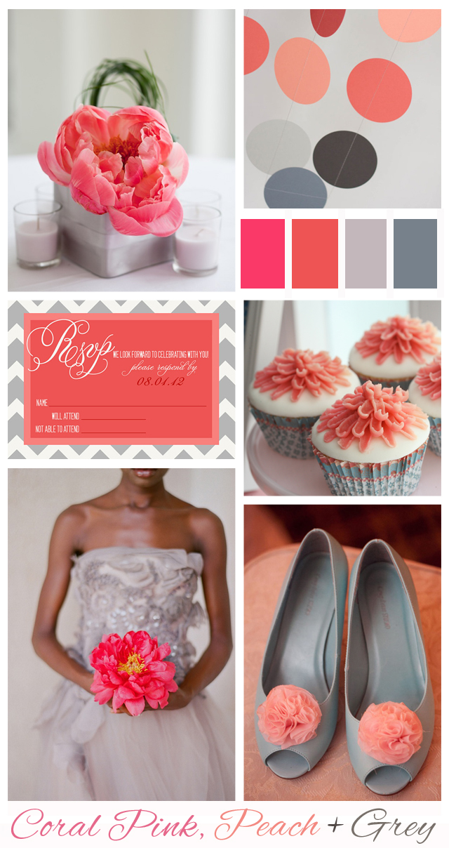 Coral Pink, Peach + Grey: Wedding Inspiration | Mood Board