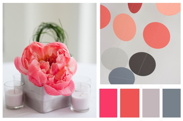 A Week (or two) Of Want That Wedding Coral Pink & Peach & Grey