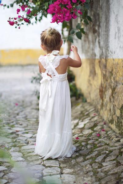 Flower Girl in long white ruffle dress