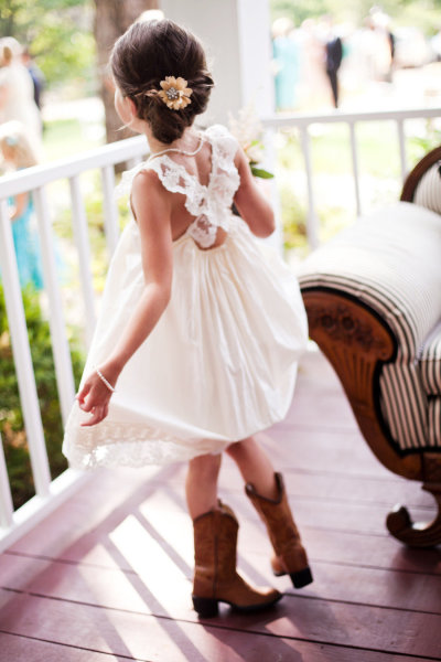 Flower girl with cowboy boots