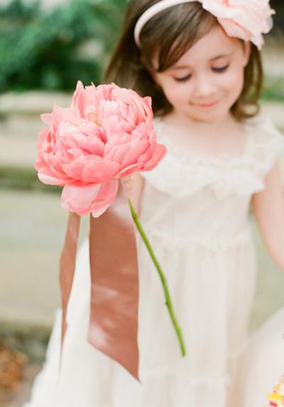 Giant Paper Peony | Beautiful Flower Girls | Inspiration + Ideas