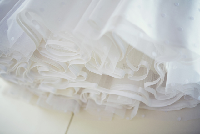 1950s polka dot wedding dress