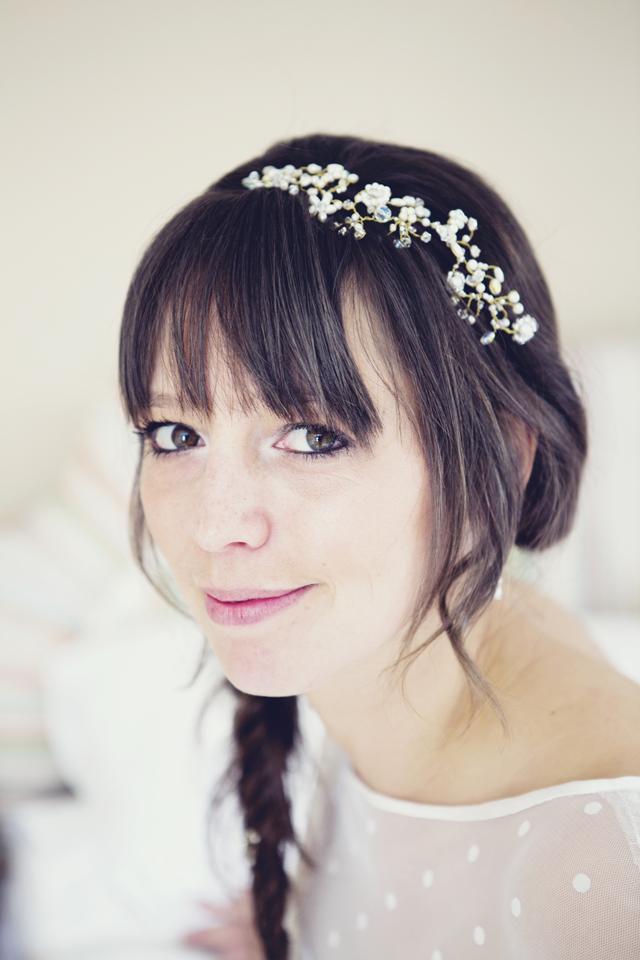 Pretty bride with fishtail braids