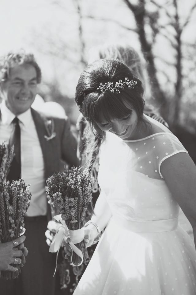 Polka dot wedding dress